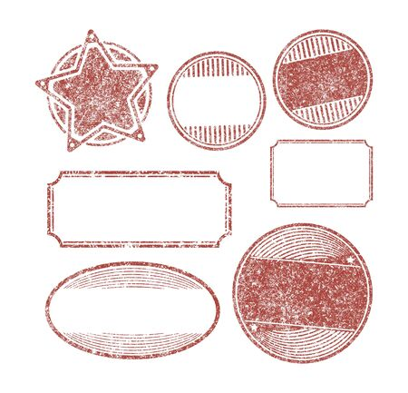 Set of 7 rubber stamps templates photo