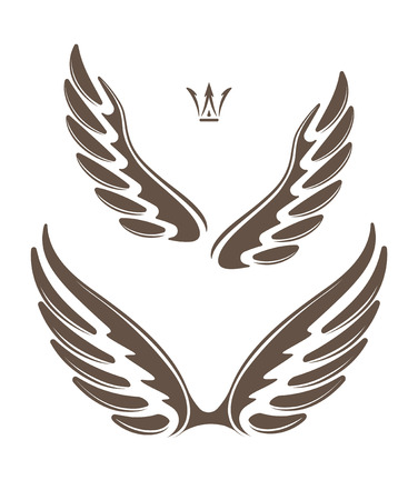 crown tattoo: Two pair of decorative vector wings with crown Stock Photo