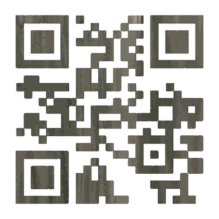 qrcode: Barcode, qr-code, 2D-barcode in watercolor style. Vector illustration.