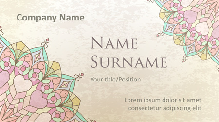 pleasant: Visit card design on old-style colored background with gentle and pleasant colors. Design #3. Stock Photo
