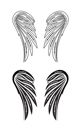 Two pair wings of angel. Vector illustration.