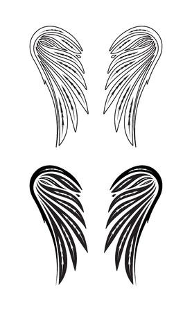 engel tattoo: Zwei Paar Flügel des Engels. Vektor-Illustration.