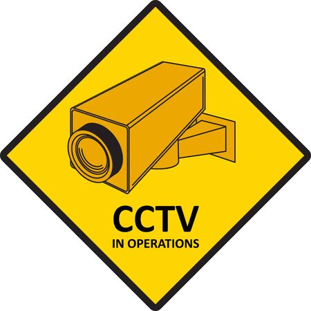 monitored area: CCTV video surveillance sign. Stock Photo