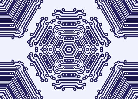 Abstract seamless pattern in PCB-layout style. Vector illustration illustration