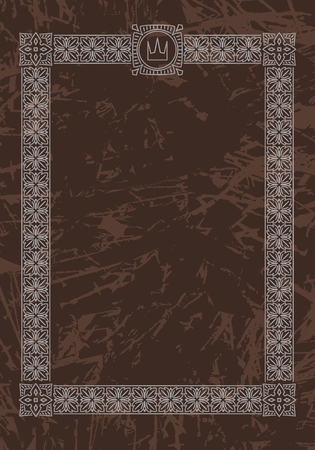 dark brown background: Luxury, ornate, vintage frame with crown on aged dark brown background. Vector illustration.