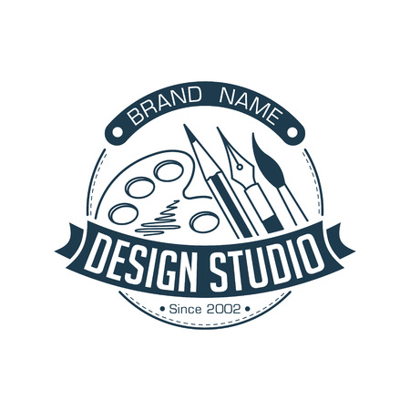 Abstract stylish round design studio illustration with brush, pen, pencil and palette for logo or other use. Illustration