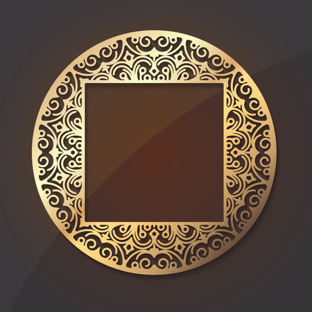 Gold round lace design element with shadow and a square middle place for your text or decor Vector