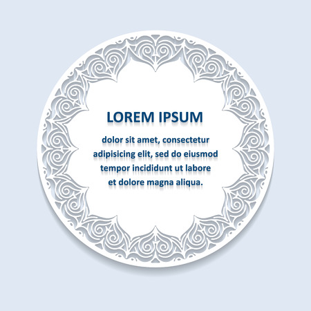 vintage frame: Circle lace ornament, round ornamental geometric doily pattern with empty space for text. Vector illustration greeting, wedding invitation. Background light blue colors