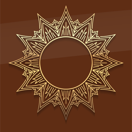 noble: Gold lace star decor mandala with shadow on noble dark brown background. A round place in centre of element for your text  Illustration