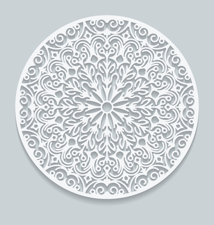 lace doily: Round paper lace doily, greeting card. Decorative, geometric vector snowflake, mandala. Circle crochet ornament Illustration