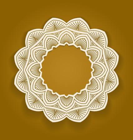 embroidery designs: Round ornamental frame, circle floral background, mandala pattern, vector illustration in brown color. Can be used for decorating of invitations, greeting cards.