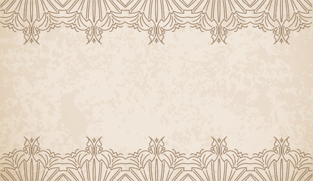 Vintage style vector background with geometric pattern border decoration, divider, header, ornamental frame template. Vector
