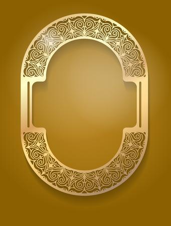 an oval: Oro Bastante inusual marco ovalado con sombra sobre fondo de color marrón oscuro para su diseño.
