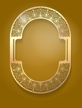 Pretty gold unusual oval frame with shadow on dark brown background for your design.