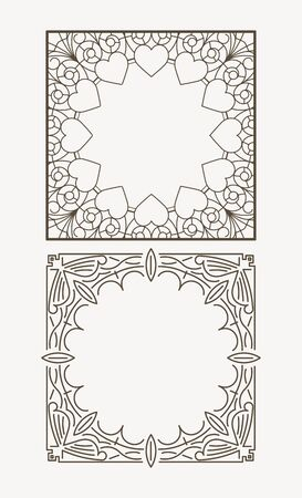 empty space for text: Pair of square page, unique coloring of the book, or greeting card - floral vintage design. Vector illustration with empty space for text. Illustration