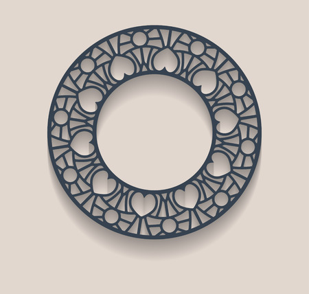 Vector paper frame with a decorative lace border black, round vignette, label lace on a light background