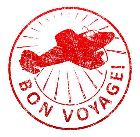 bon: Bon voyage - rubber stamp with a airplane and rays in a grunge style. Vector illustration for your design.
