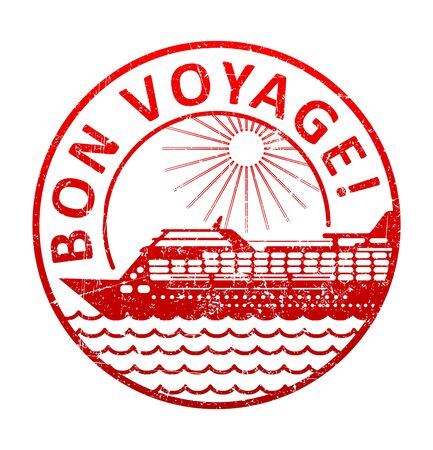 bon: Bon voyage - rubber stamp with the silhouette of a cruise ship in the sea. Grunge style vector illustration.