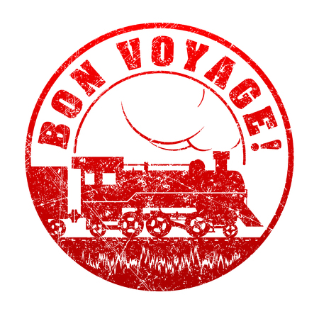 bon: Bon voyage - rubber stamp with the silhouette of  retro steam-powered locomotive. Grunge style vector illustration.