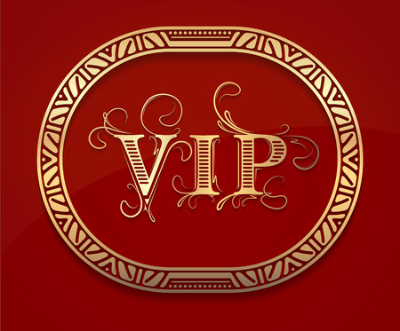 vip: Pretty gold unusual oval frame with shadow and caption VIP on dark red background for your design