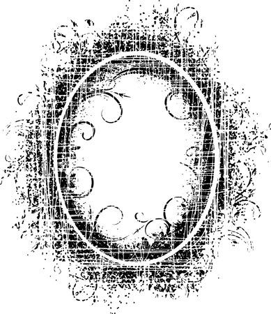 Grunge décor floral - noir rétro cadre ovale avec des fissures. Banque d'images - 40573674