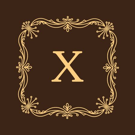 gamma: Elegant style vector monogram design template in brown gamma. Excellent for logo design. Vector illustration.