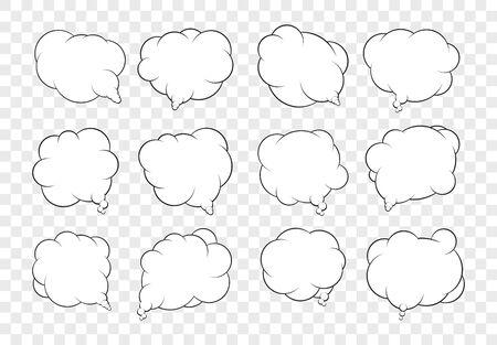dozen: Set of dozen vector talking bubbles with white fills and transparent background.