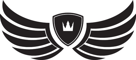 Pair of stylish decorative vector wings with shields and crown Vector