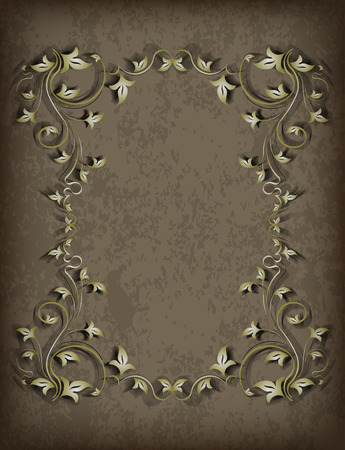 blacked: Luxurious vintage frame with leaves and a shadow on grunge background with the blacked out edges. Retro vintage greeting card or invitation. Illustration