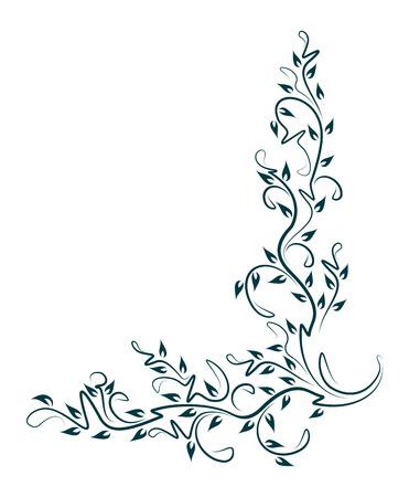 Decorative floral corner. Vector illustration for your design or tattoo.