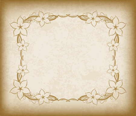 aged paper: Old frame with flowers on aged paper with dark edges and a blank space for text. Retro vintage greeting card or invitation.