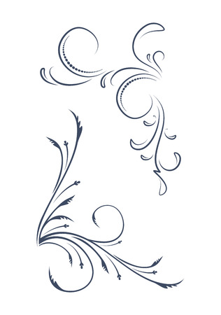A pair of ornamental, floral corners. Vector illustration for your design or tattoo.