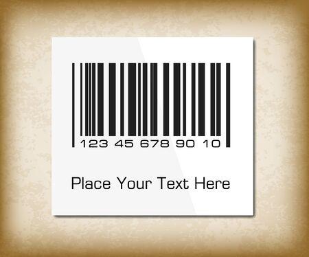 packing paper: Bar code label on a dark packing paper. Vector illustration for your design. Illustration