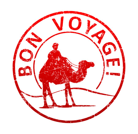 Bon voyage - rubber stamp with the silhouette of a camel in the desert, and the cameleer. Grunge style vector illustration. Illustration
