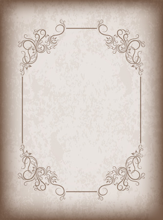 blank space: Old frame on aged paper with dark edges and a blank space for text. Retro vintage greeting card or invitation.
