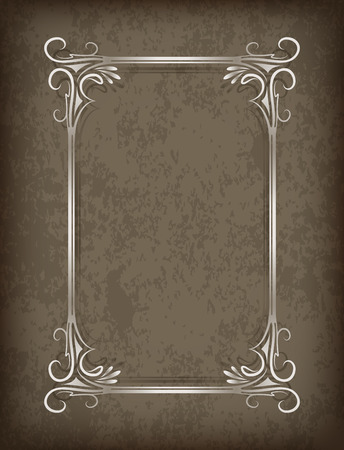 blacked: Luxurious vintage frame with shadow on grunge background with the blacked out edges and a blank space for text. Retro vintage greeting card or invitation. Illustration