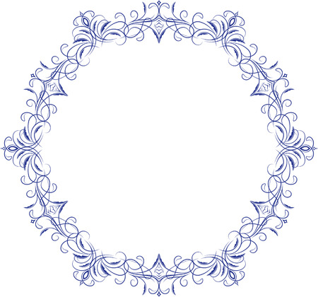 Circle lace ornament, round ornamental geometric doily pattern with empty space for text.