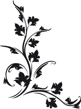 ringlet: decorative floral corner black and white.