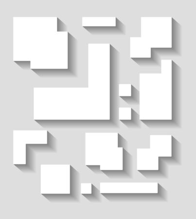 creative arts: Abstract geometric shapes decor with shadow on a gray background.