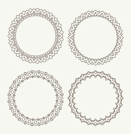 Set of 4 rich decorated calligraphic round frames. Stock Vector - 42579202