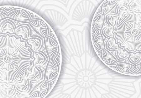 gamma: Abstract lace design with decorative mandala and copy space in popular gray and white gamma.