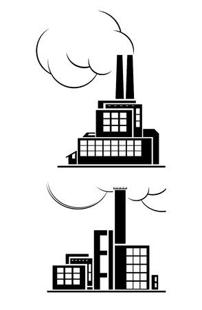 ecologic: Conjunto de dos iconos de la planta con humo. Dise�o ecol�gico conceptual.