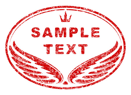 Red Oval Grunge Rubber Stamp Template With Wings And Crown An