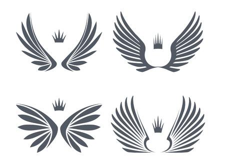 caricatura mosca: Conjunto de cuatro pares de alas con coronas.