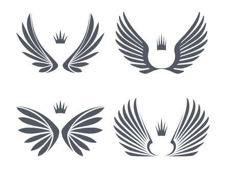 wings isolated: Set of four pairs of wings with crowns.  Illustration