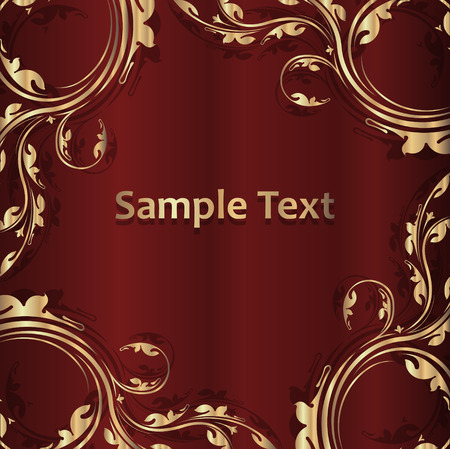 empty space for text: Vintage golden frame with shadow on a dark red background and empty space for text.