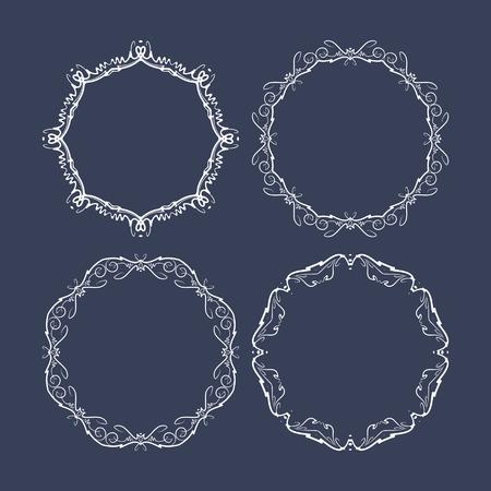 marcos redondos: Juego de 4 cuadros decorativos redondos sobre un fondo azul oscuro Vectores