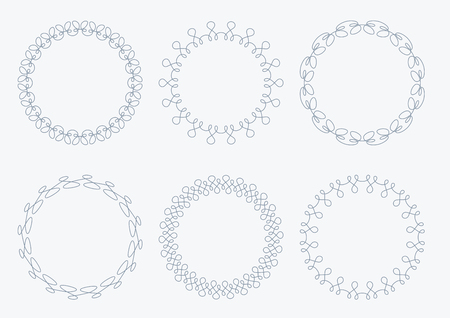 width: Set of 6 very simple round frames with fully editable stroke width