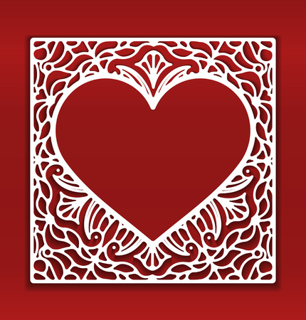empty space for text: Square lace ornament, ornamental geometric doily pattern with heart shaped empty space for text.
