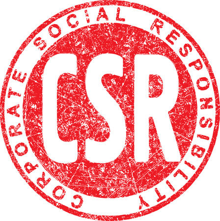 corporate social: CSR. Corporate social responsibility rubber stamp